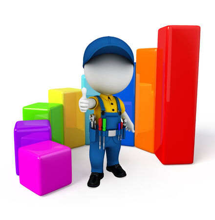 achivement: Illustration of white character as a Plumber with business graph Stock Photo