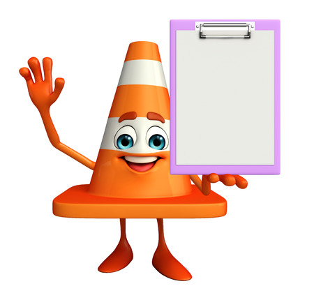road works ahead: Cartoon Character of Construction cone with notepad  Stock Photo