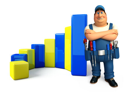 achivement: Illustration of young plumber with business graph