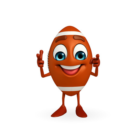rugbybal: Cartoon Character of rugby ball is pointing  Stockfoto