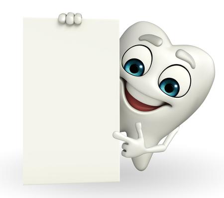 Cartoon karakter van de tanden met teken