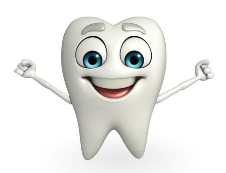 Cartoon character of teeth is running Stock Photo