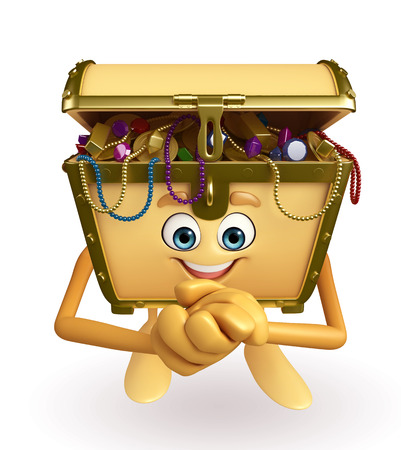 thesaurus: Cartoon Character of Treasure box with happy pose Stock Photo