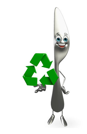Cartoon character of knife with recycle icon photo