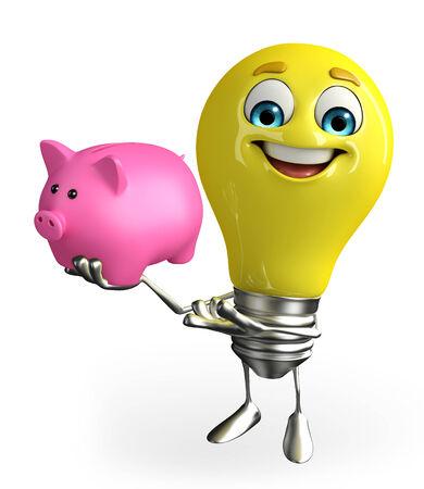 Cartoon Character of light bulb with piggy bank