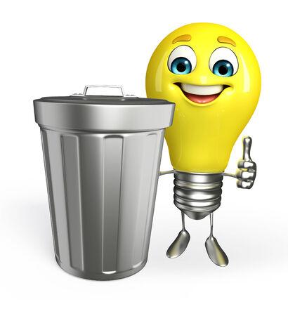 Cartoon Character of light bulb with dustbin