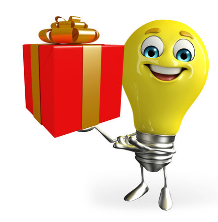 Cartoon Character of light bulb with gift box