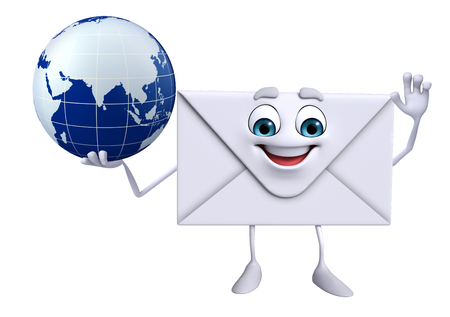 Cartoon Character of mail with globe photo