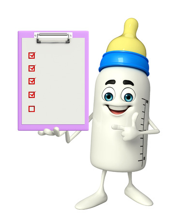 teat: Cartoon Character of baby bottle with notepad
