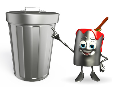 Cartoon Character of paint bucket with dustbin photo