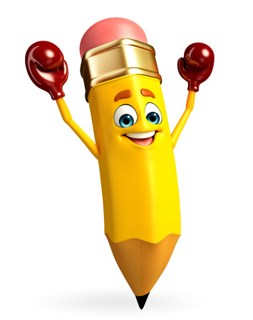 Cartoon Character of pencil with Boxing Gloves Stock Photo