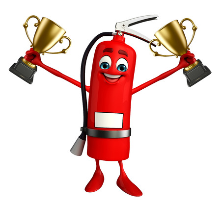Cartoon Character of fire extinguisher with trophy Stock Photo - 31091548