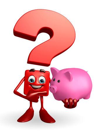 deposite: Cartoon Character of Question Mark piggy bank