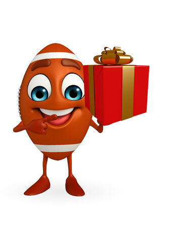 Cartoon Character of rugby ball with gift box photo