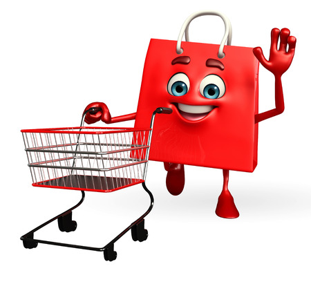 achivement: Cartoon Character of shopping bag with trolley