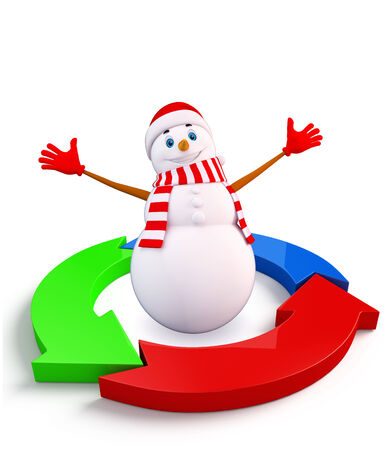 achivement: Illustration of snowman character with graph diagram Stock Photo