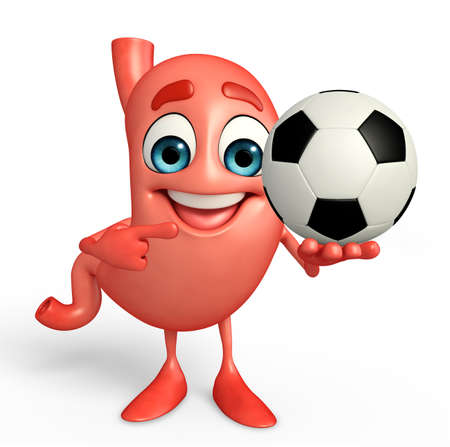 alimentary: Cartoon Character of stomach with football