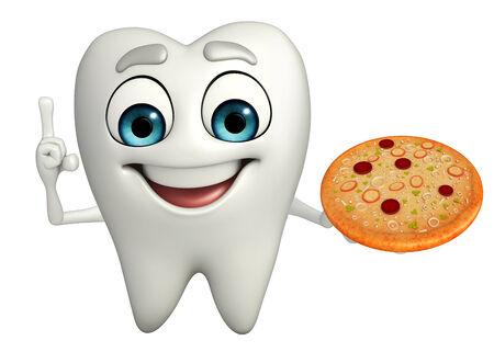 Cartoon character of teeth with pizza