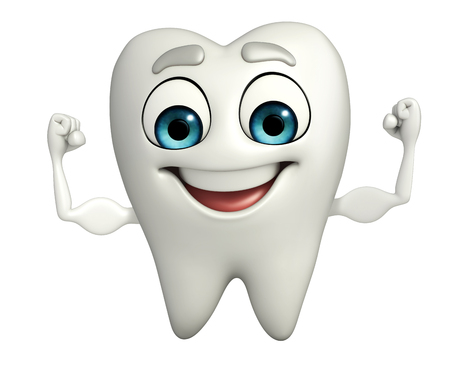 Cartoon character of teeth with bodybuilding pose Stock Photo