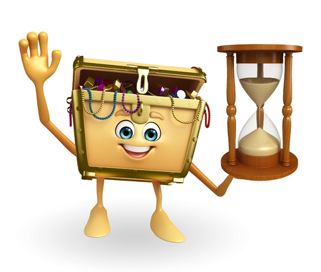 thesaurus: Cartoon Character of Treasure box with sand clock Stock Photo