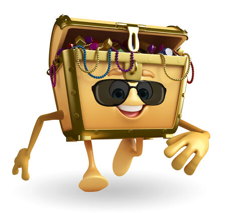 thesaurus: Cartoon Character of Treasure box with sun glasses