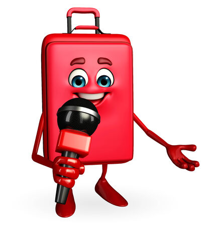 Cartoon Character of Travelling Bag with mike photo