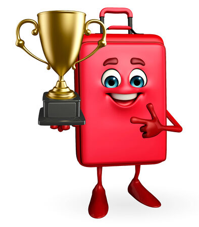 Cartoon Character of Travelling Bag with trophy photo