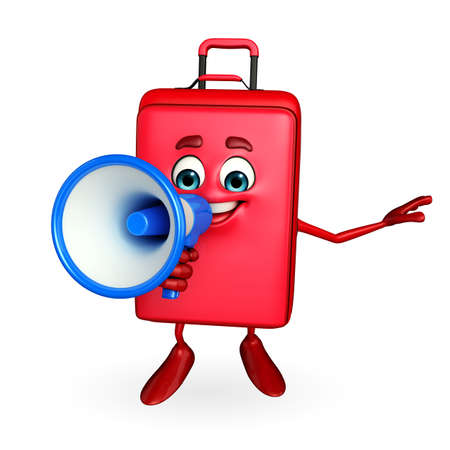 Cartoon Character of Travelling Bag with Loudspeaker photo