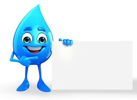 chilled: Cartoon Character Of Water Drop with sign