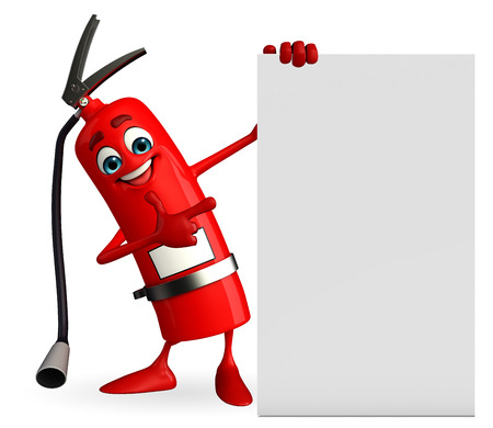 precautions: Cartoon Character of fire extinguisher with sign