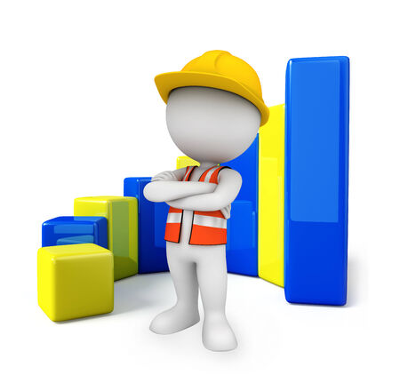 Illustration of young worker with business graph  illustration
