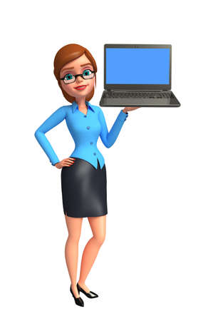 girl with laptop: Illustration of young office girl with laptop