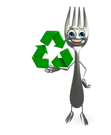 Cartoon character of fork with recycle icon  photo
