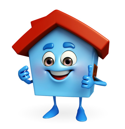 Cartoon Charcter of house with thumbs up sign photo