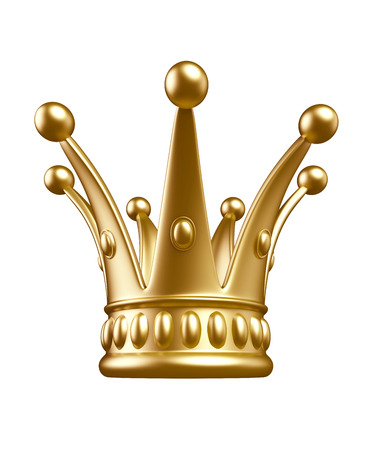 Gold crown isolated on white background  Banque d'images