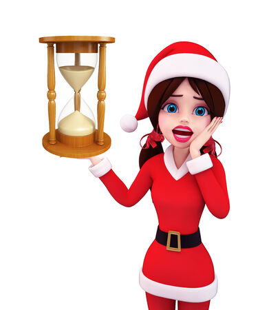 sand clock: Illustrazione della ragazza della Santa con l'orologio della sabbia