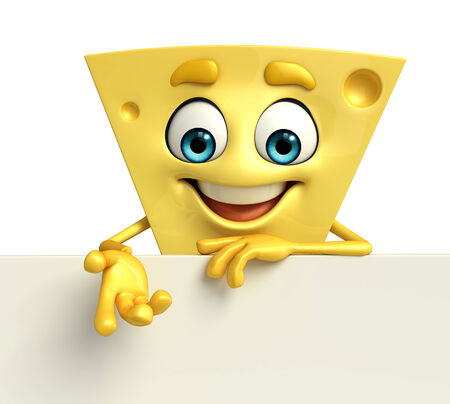 Cartoon Character of Cheese with sign photo