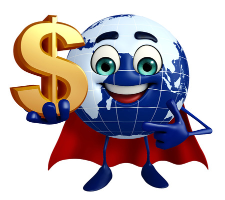 Cartoon Character of Earth with dollar sign photo