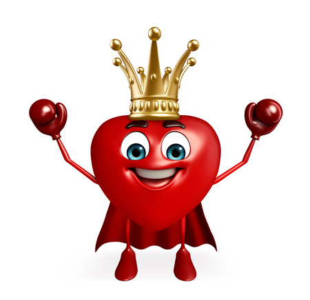 Cartoon Character of super heart with crown photo