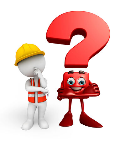 Illustration of young worker with question mark sign illustration