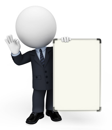 White character as a business man with display board photo