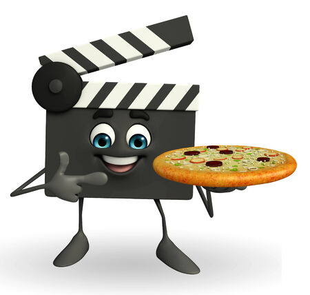 filmmaker: Cartoon Character of Clapper Board with pizza Stock Photo