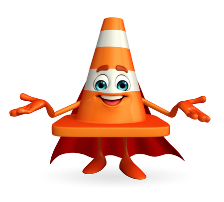 road works ahead: Cartoon Character of super Construction cone
