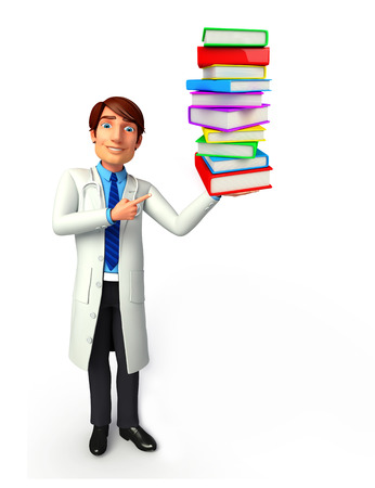 writting: Illustration of young doctor with books Stock Photo