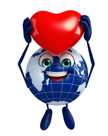 Cartoon Character of Globe with red heart photo