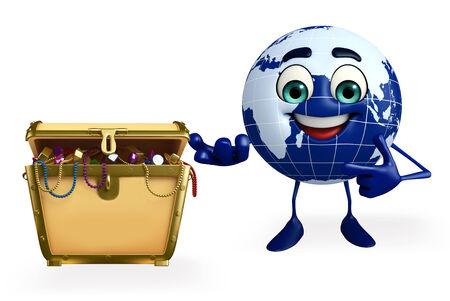 Cartoon Character of Earth with treasure box photo