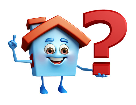 Cartoon Charcter of house with question mark photo