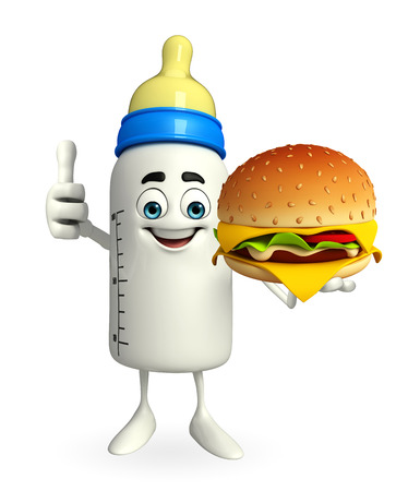 Cartoon Character of baby bottle with burger photo