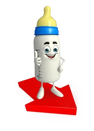 grew: Cartoon Character of baby bottle with Arrow
