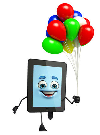 Cartoon character of tab with balloons photo